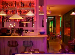 cosy cocktail bar with neon lights