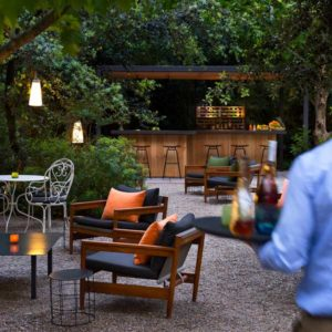 garden bar with table and chairs