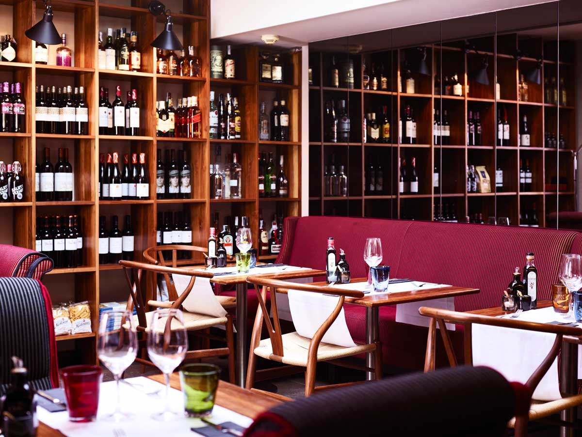 red wine bar with glasses