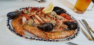 plate with shrimp and shells